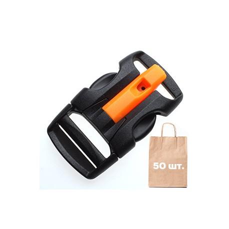 Фастекс со свистком 20 мм X Wing Buckle WJ. Упаковка 50 шт. черный/оранжевый